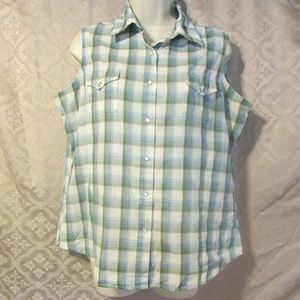 Wrancher Snap Button Sleeveless Top Plaid L